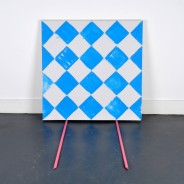 acrylic and pencil on canvas with acrylic on primed wooden sticks, dimensions variable, 2013