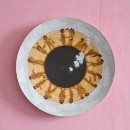 Iris, emulsion and acrylic on found bamboo object, 45cm diameter x 6.5cm, 2013. Photo: Simon Pantling