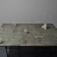Crane Motifs (performance), 3D printed plastic units, concrete, metal framework, 2013-2014