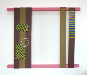 Problem Painting 2, Acrylic with oil on beeswax and electrical tape on wood, 2014