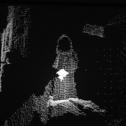 Kinect video, black and white, looped. Variable projection. Part of ongoing series Shadow Worlds l Writers Room. Edition of 6 with Spencer Roberts (programming and Alistair Macdonald (electroacoustic)