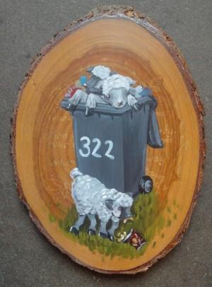 Acrylic on found wooden object, 2014,  20cm x 14.5cm x 2cm